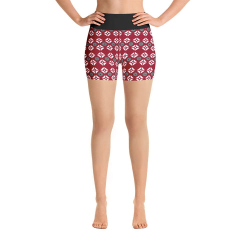 Yoga Shorts Burgundy and Black Pattern