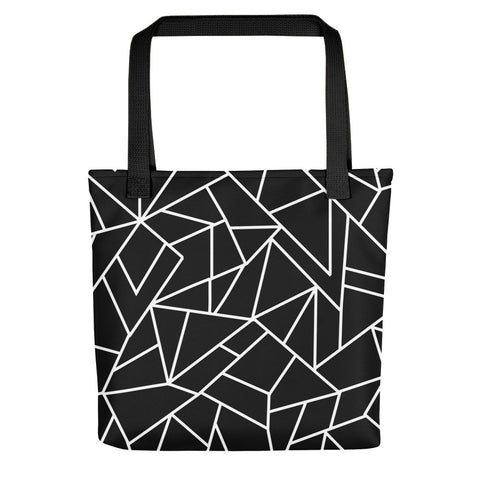 Black Leadlight Pattern Tote Bag