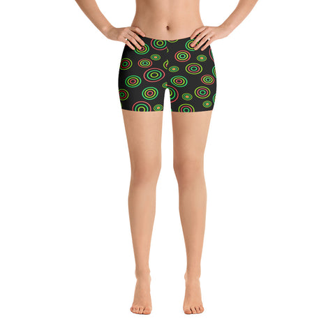 black stretch shorts with green circles plus size 3xl