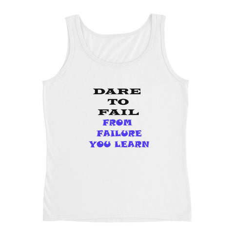 Ladies' White Cotton Tank Top 'Dare To Fail'