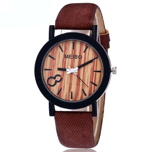 Imitation Wooden Watch With Leather Strap