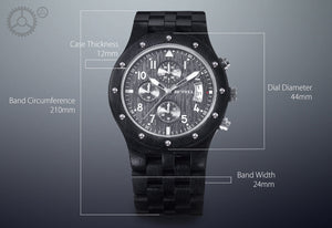 Chronological Trendy Wood Men Sports Watch Black