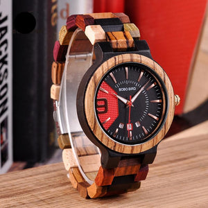 Mens Luxury Date Display Wood Quartz Watch