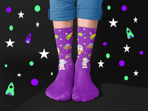 Purple and Green Galatic Crew Socks