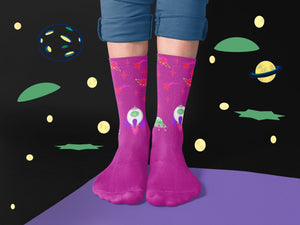 Galaxy Space Socks In Purple With Planets and Stars