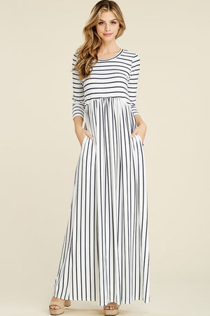 Asiya's Black & White Striped Maxi Dress 3/4 sleeve