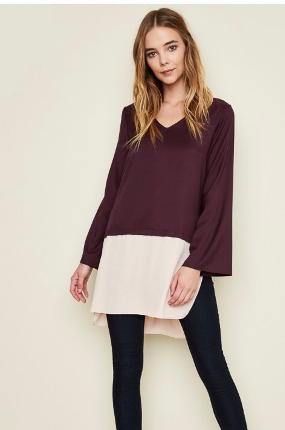 Nura's Long Sleeve Half Sheer Top