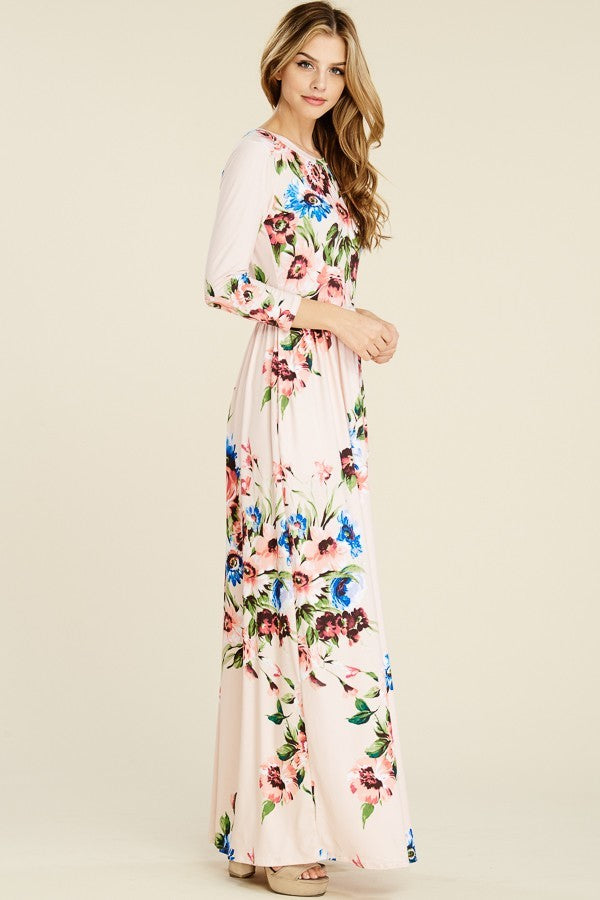 Jules 3/4 Sleeve Floral Maxi Dress w/pockets