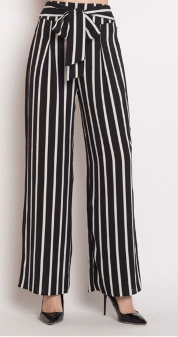 Huda's Striped Crepe Pants
