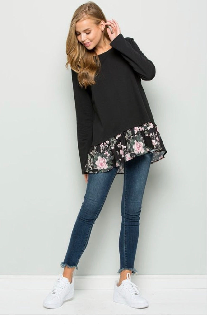 Jasmine's Tunic with Floral Hem