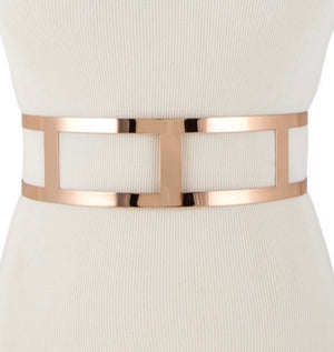 Metal Cut Out Belt Gold