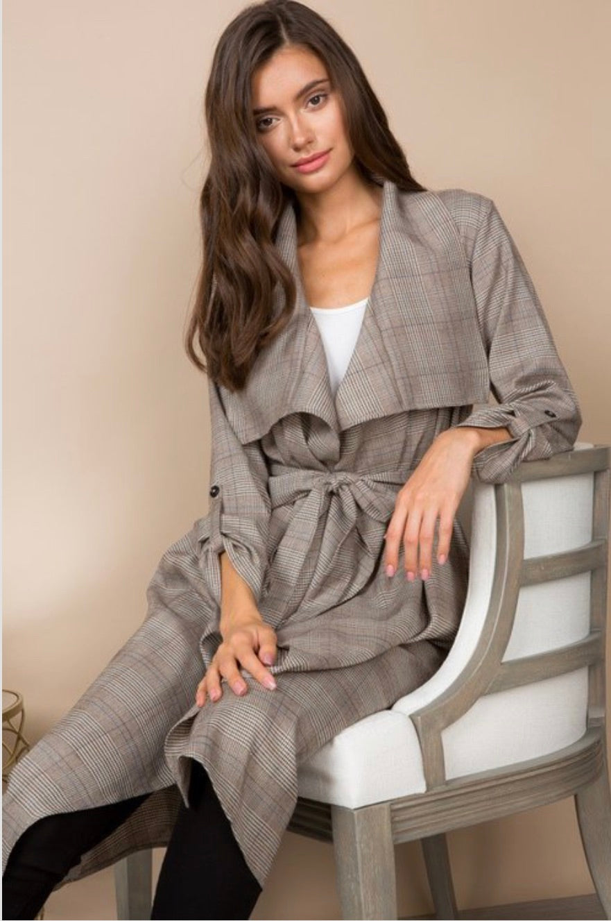 Medina's plaid light-weight trench