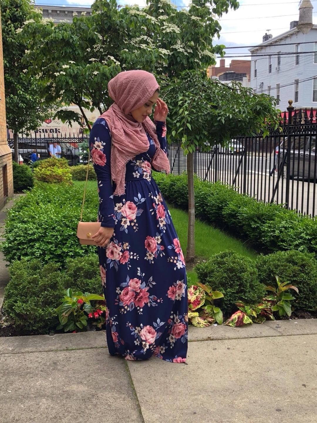 Badriyah's Floral V-Neck Maxi Dress