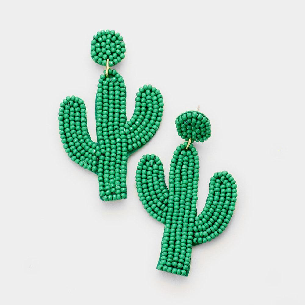 BEADED CACTUS DROP DANGLE EARRINGS GREEN