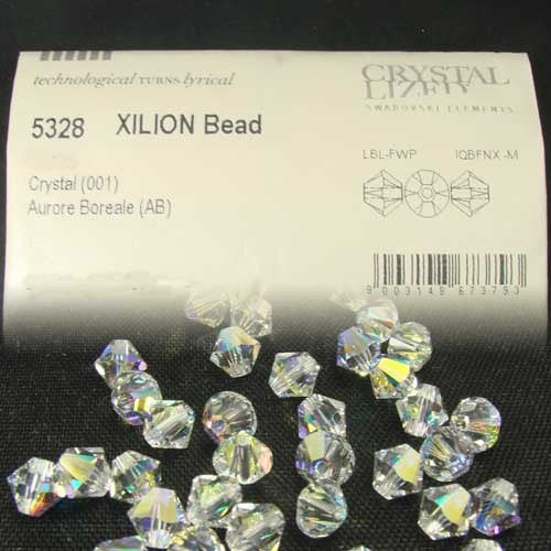 1 Org Pack of 360pcs Swarovski Crystal Beads 5328 6mm Xillion Beads - Crystal Clear AB