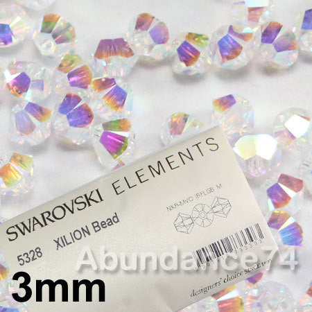 1 Org Pack of 1440pcs Swarovski Crystal Beads 5328 3mm Xillion Beads - Crystal Clear AB2X