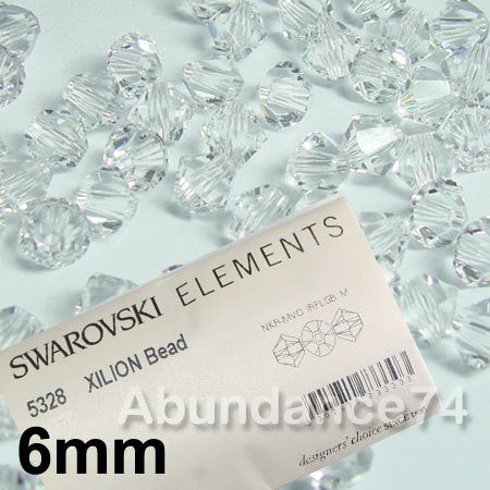 1 Org Pack of 360pcs Swarovski Crystal Beads 5328 6mm Xillion Beads - Crystal Clear