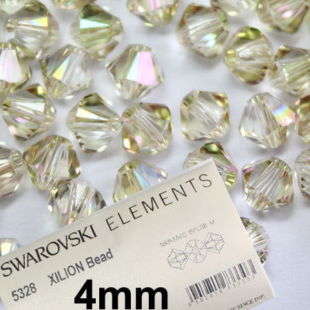 1 Org Pack of 1440pcs Swarovski Crystal Beads 5328 4mm Xillion Beads - Crystal Clear Luminous Green - New Color - FREE SHIPPING