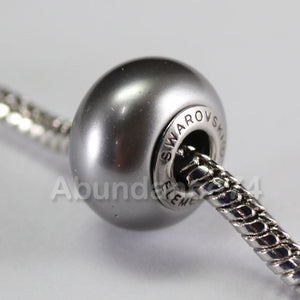 1 pc Swarovski BeCharmed Crystal Pearl European Bead charm / Spacer - 5890 14mm - Color : Grey