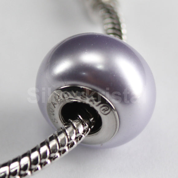 1 pc Swarovski BeCharmed Crystal Pearl European Bead charm / Spacer - 5890 14mm - Color : Lavender