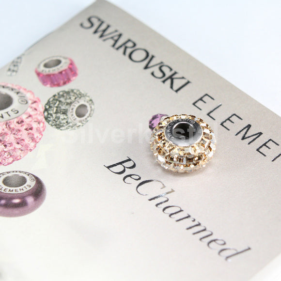 1 pc Swarovski BeCharmed Pave Crystal European Beads charm / Spacer - 80201 15mm - Color : Crystal Golden Shadow
