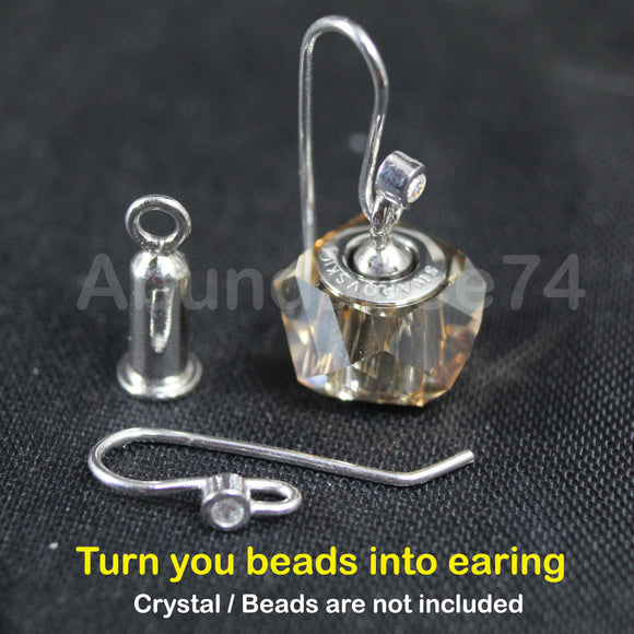 925 Sterling Silver Inter-changeable Stud Earring hook finding - turn your European Beads charm into earring
