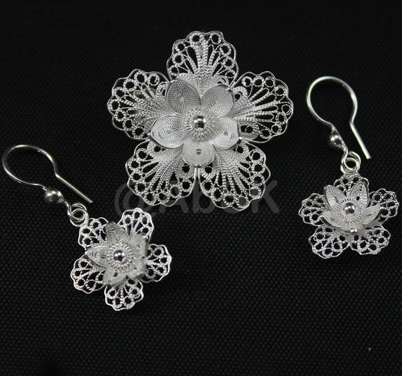 Handmade 925 STERLING SILVER Filigree Hibiscus Flower Earrings Pendant Set Fil19