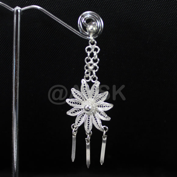 Thailand Handmade 925 STERLING SILVER Filigree Flower Dangle Stud Earrings Fil15