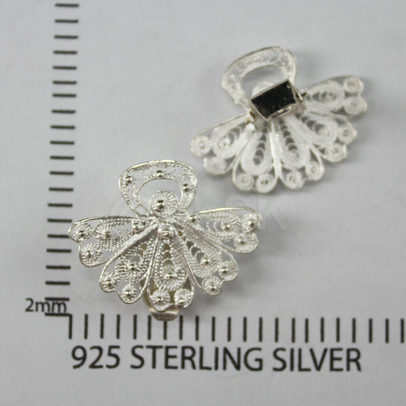 Thailand Handmade 925 Sterling Silver Filigree fan Shape CLIP-ON Earrings Fil11
