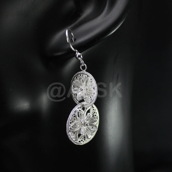 Thailand Handmade 925 STERLING SILVER Filigree Interlink Dangle Earrings Fil7