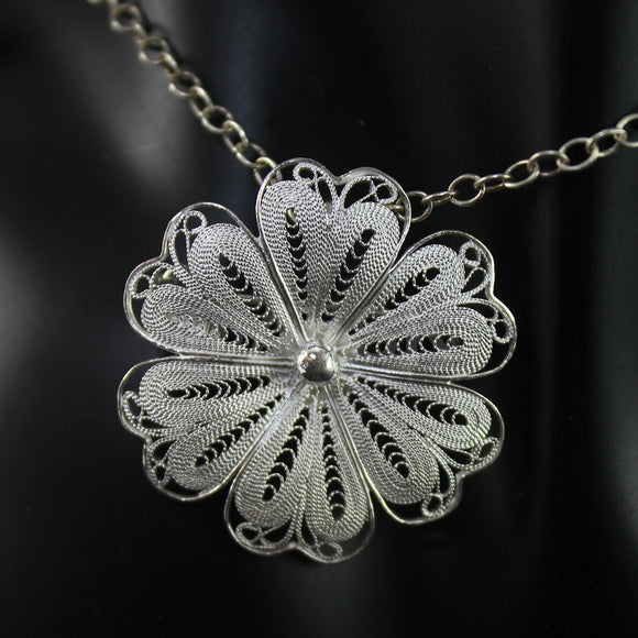 Handmade 925 STERLING SILVER Filigree Daisy Flower Earrings Pendant / brooche Set Fil20
