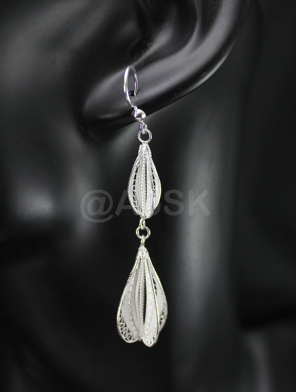 Thailand Handmade 925 STERLING SILVER Filigree Double Dangle Earrings Fil16