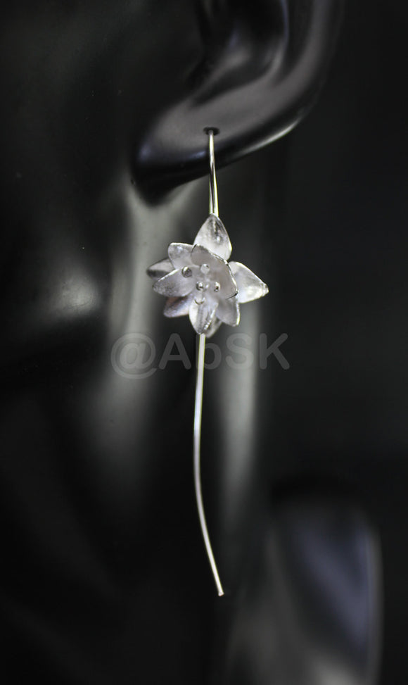Thailand Handmade 925 STERLING SILVER Filigree Long Lotus Elegant Earrings Fil3