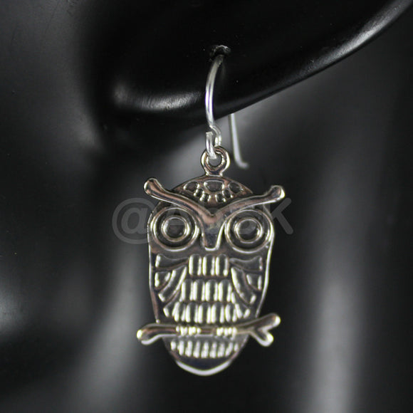 925 STERLING SILVER 31mm Cute Owl Polished with oxidized Dangle Earrings BE3