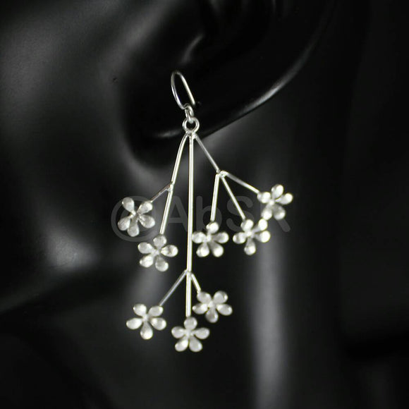 925 STERLING SILVER 58mm Long Blossom Stalk Small Flowers Dangle Earrings BE13