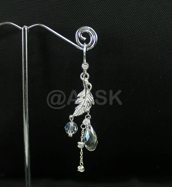 925 STERLING SILVER 60mm Handmade Long Swarovski Zirconia Crystal Earrings SE3