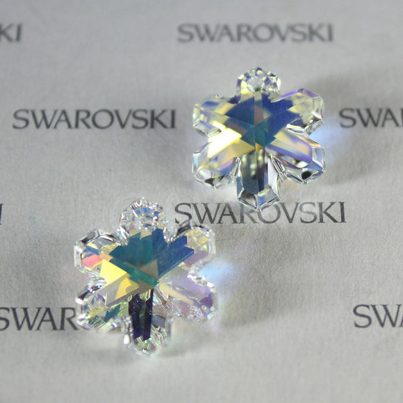 1 pc Genuine Vintage Swarovski 6707 20mm Snowflake Pendant - Crystal Clear AB