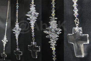 Swarovski 40mm Large Clear Cross Crystal with matching Cluster Suncatcher (DS52)