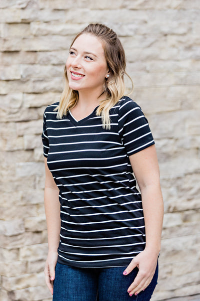Classic V-Neck Tee - Black with White Stripes