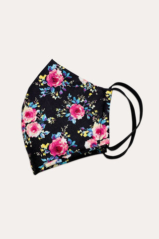 Floral Masks (Black) - Adult