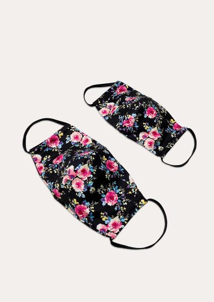 Floral Masks (Black) - Child