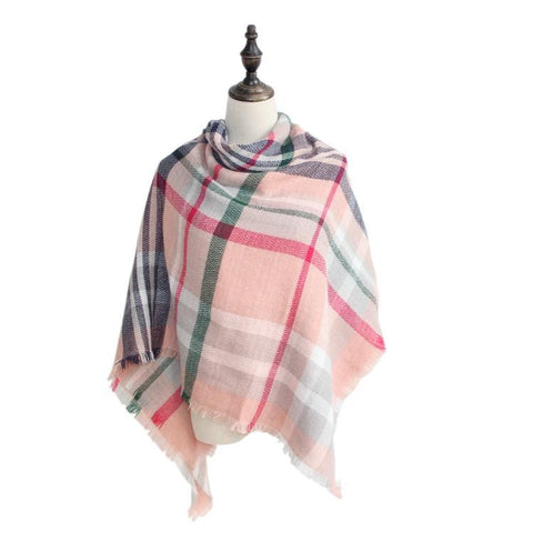 DOORBUSTER: Plaid Blanket Scarf Scarves (Pink/Blue/Green)