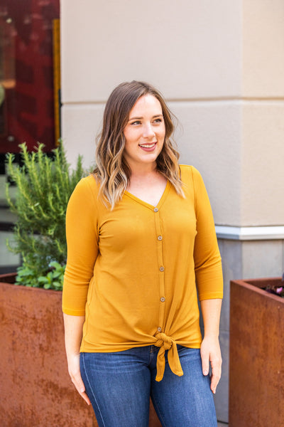 Riley Button Top - Mustard