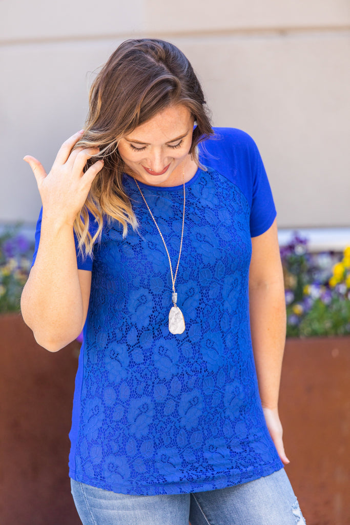 Lace Front Tee - Blue