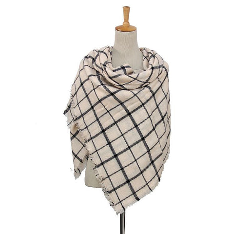 DOORBUSTER: Black & White Plaid Women's Blanket Scarf