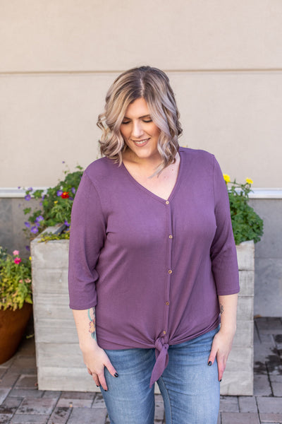 Riley Button Top - Plum