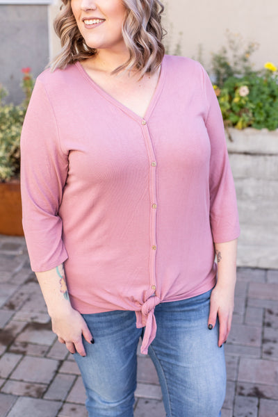 Riley Button Top - Dusty Rose