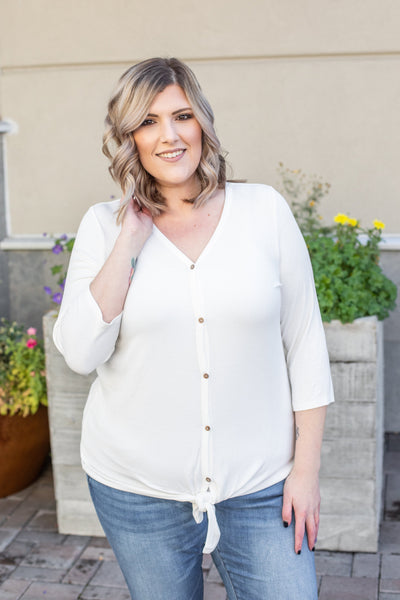Riley Button Top - White
