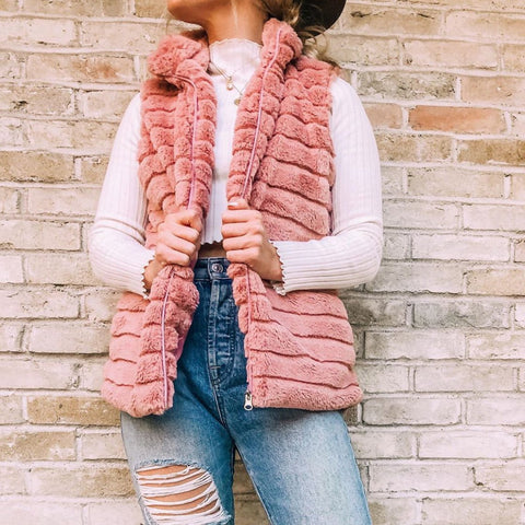 Faux Rabbit Vest for Women