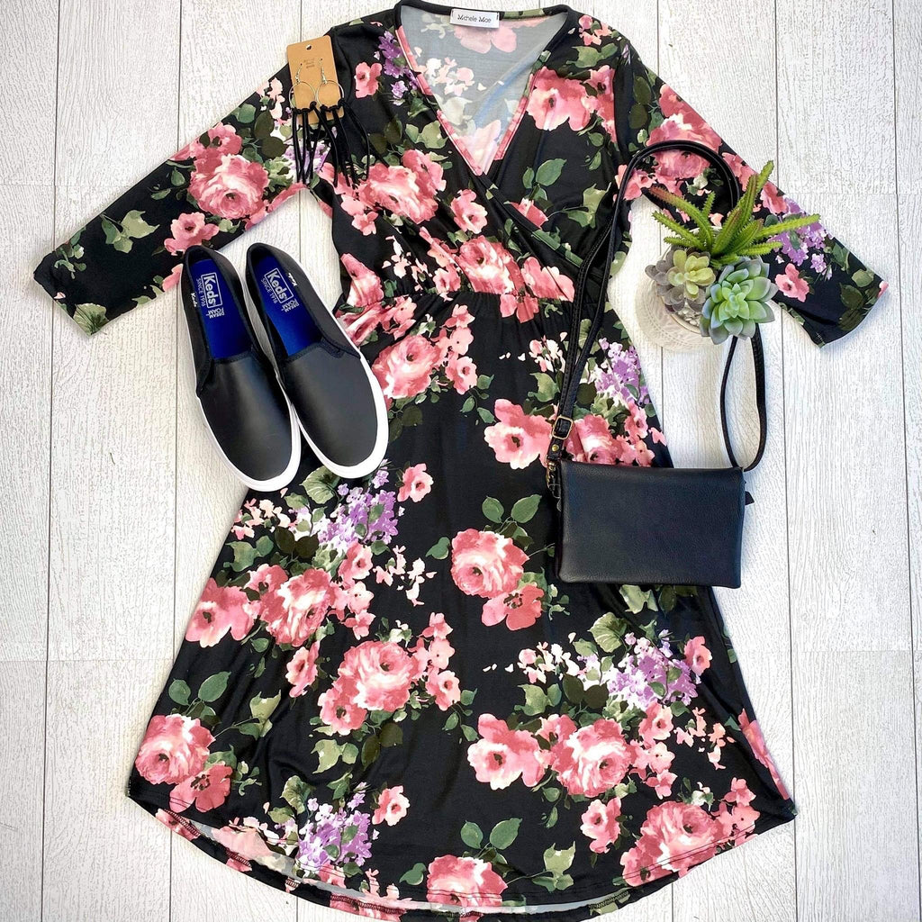 Taylor Dress - Black and Blush Floral